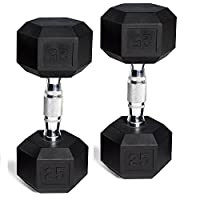 CAP Barbell Set of 2 Hex Rubber Dumbbell 30lbs x2