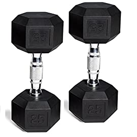 CAP Barbell Set of 2 Hex Rubber Dumbbell with Metal Handles, Pair of 2 Heavy Dumbbells Choose Weight (5lb, 8lb, 10lb…