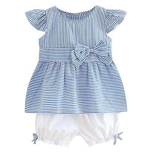 Youmymine 2PC Newborn Kid Baby Girl Sleeveless T-Shirt Striped Bow Patchwork Top Shirt Shorts Outfits Clothes (18-24Months, Blue) ()