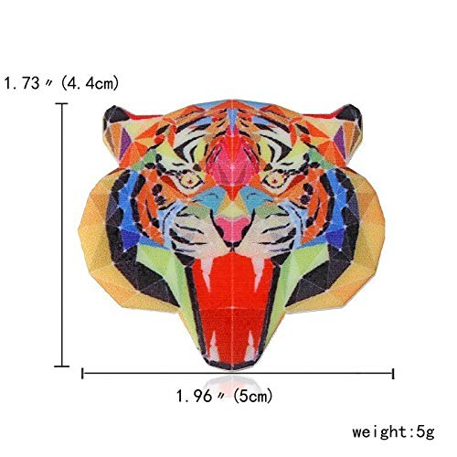 - Vintage Tiger Panda Cat Dog Animals Printing Acrylic Brooch Pin Costume Jewelry | Choose Style - Tiger 1