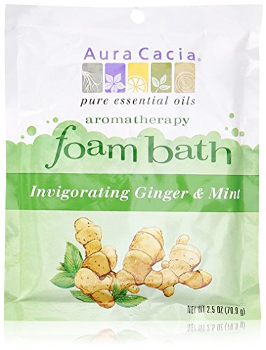 Aura Cacia Aromatherapy Foam Bath, Invigorating Ginger and Mint, 2.5 ounce packet (Pack of 3) (Aura Cacia Foam)
