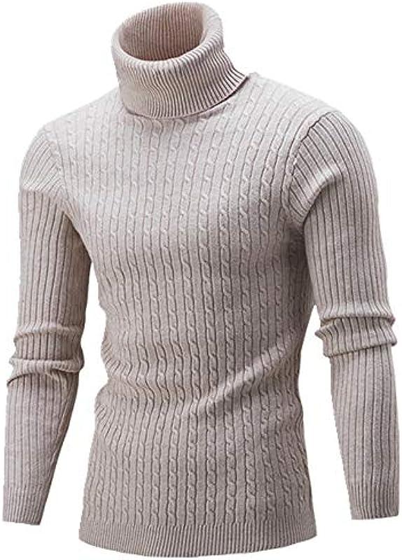 U/A Męskie Rollkragenpullover Herbst Winter Einfarbig Pullover Casual Sweater Slim Fit: Odzież