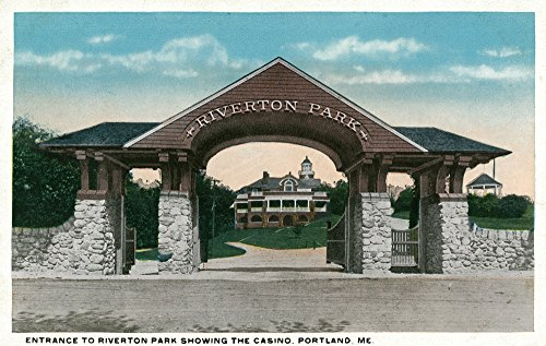 Portland, Maine - View of the Riverton Park Entrance Showing the Casino (36x54 Giclee Gallery Print, Wall Decor Travel Poster)
