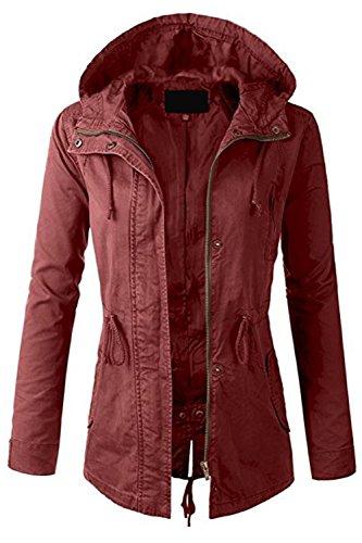 Fashion Boomy Womens Zip Up Military Anorak Jacket W/Hood (3X_PLUS, MARSALA) (Plus Hood)