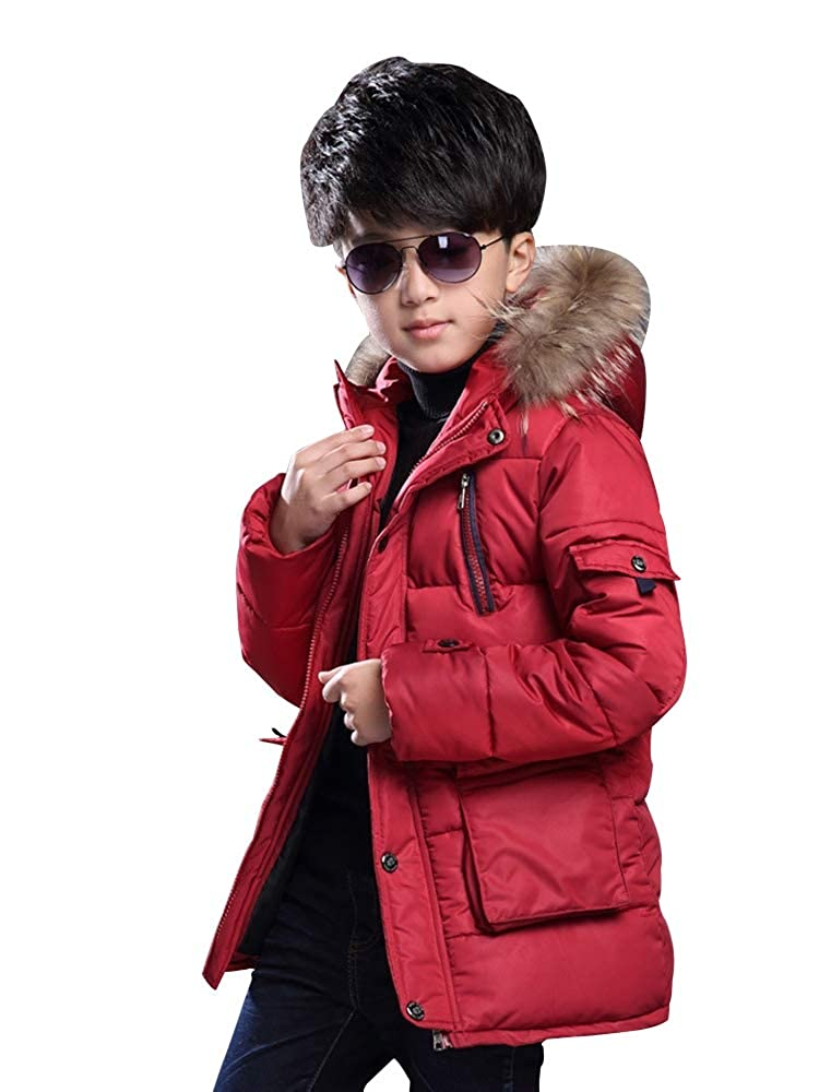 OCHENTA Big Boy's Winter Cotton Hooded Outwear Parka Coat with Faux Fur Trim