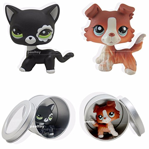 2pcs #2249 #1542 Littlest Pet Shop Brown Collie Dog Puppy black cat LPS Rare Toy (Littlest Pet Shop Brown Cat)