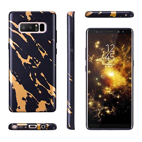 Funda Samsung Galaxy S8 Plus, WE LOVE CASE Ultra Fina Slim Suave Funda Mármol Samsung S8 Plus Silicona Cubierta Clear Cover Original Flexible Gel Dibujos Anti Rasguños Choque con Diseño Protectora Res Black Gold