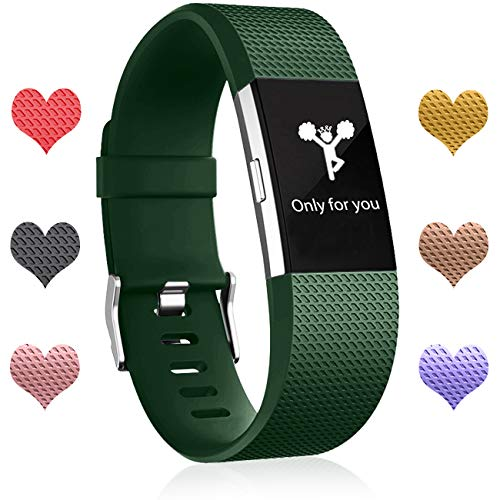 Wepro Bands Compatible with Fitbit Charge 2 HR for Men Women Girls Kids, Large, Replacement Accessory, Olive