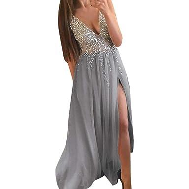 bed6975f2b736e Onceal Frauen Pailletten Prom Party ballkleid sexy Abend Brautjungfer  v-Ausschnitt langes Kleid (S