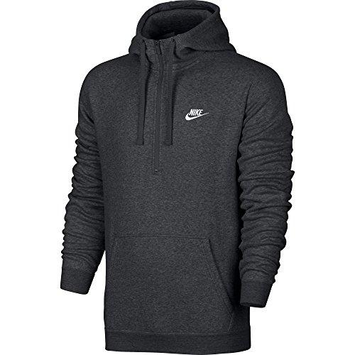 Nike Mens Sportswear Half Zip Club Fleece Hooded Sweatshirt Charcoal Grey/White