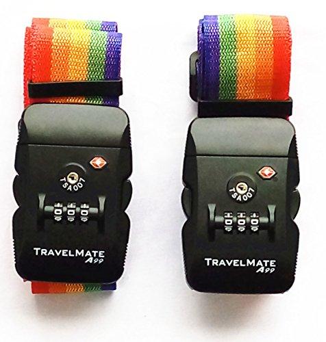 2 piezas A99 TSA Travel Mate correa de equipaje combinación digital, veliz seguro, correa de bloqueo, Arcoiris (Rainbow)