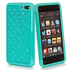 Style4U Amazon Fire Phone Case – Studded Rhinestone Crystal Bling Hybrid Armor Case Cover with 1 HD Screen Protector and 1 Stylus [Teal / Mint Blue]
