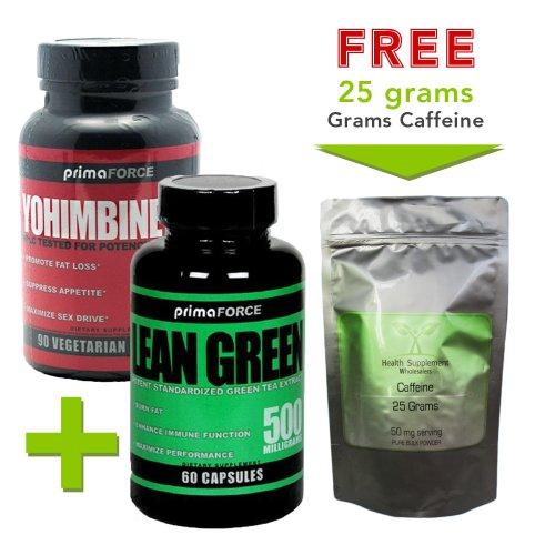 Extrait de thé vert 60 capsules + 90 capsules Yohimbine HCL Avec libre 25 grammes de poudre de caféine pure