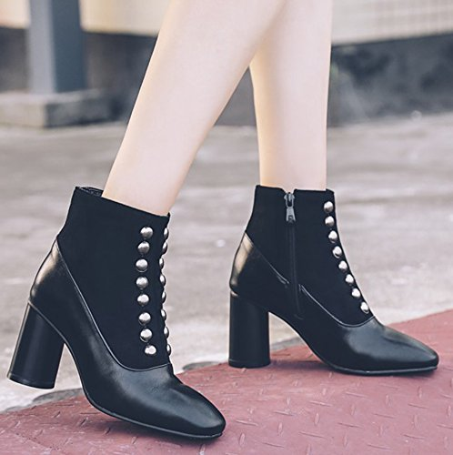 With Up Toe Square Zip Fashion Easemax Black Heel Mid Boots Ankle Chunky Women's Rivet wqB4ttP