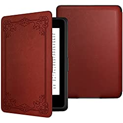 MoKo Case for Kindle Paperwhite, Premium Thinnest and Lightest PU Leather Cover with Auto Wake / Sleep for Amazon All-New Kindle Paperwhite (Fits 2012, 2013, 2015 and 2016 Versions), Vintage Style