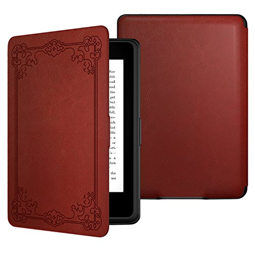 MoKo Case for Kindle Paperwhite, Premium PU Leather Cover with Auto Wake/Sleep Fits All Paperwhite Generations Prior to 2018 (Will not fit All-New Paperwhite 10th Generation), Vintage Style