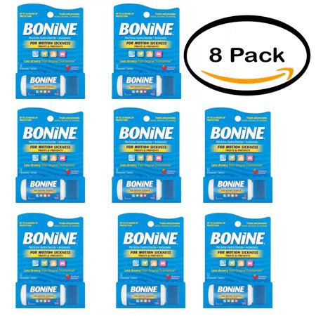 Pack of 8 - Bonine Motion Sickness Treatment Raspberry Chewable Tablets, Meclizine Hydrochloride Antiemetic, 12 count by Bonide (Image #7)