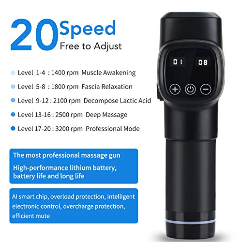 Massage Gun, MANLI 20 Speed Level Muscle Gun, Deep Tissue Pain Relief Muscle Recovery Portable Super Quiet Brushless Motor