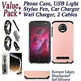 ~Value Pack~ for 5.5'' Motorola moto Z2 Play Z2 Force z2play z2force Case Phone Case Shock Proof Edges Hybrid Hard Back Bumper Slim Cover (Rose)