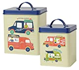 Now Designs L19014 Storage Tins, Food Trucks, Green, Set of 2
