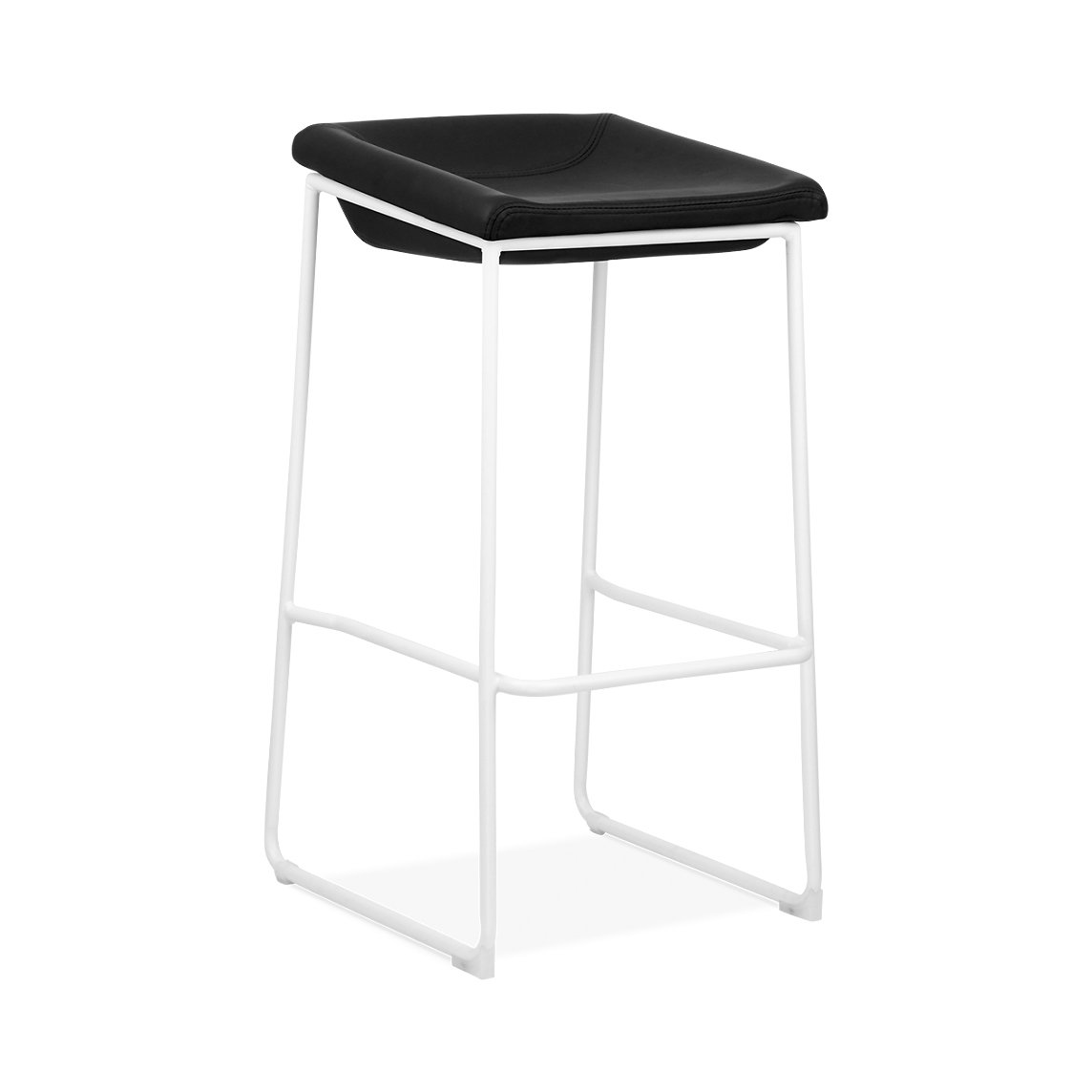 Design Lab MN LS-1010-WHTBLK Modello White Barstool Black Vinyl Seat , Set of 2