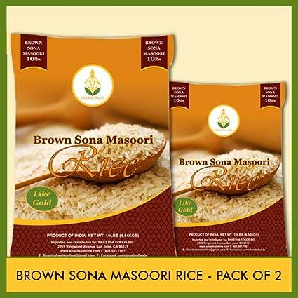 Arroz Masoori Brown Sona - 10 libras (paquete de 2) (10 ...