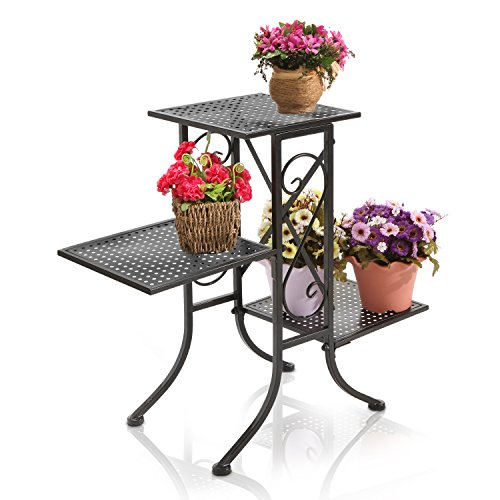 (Black Metal Scrollwork Design 3-Tier Plant Stand, Planter Pot Display Shelf Rack with Perforated Shelves)