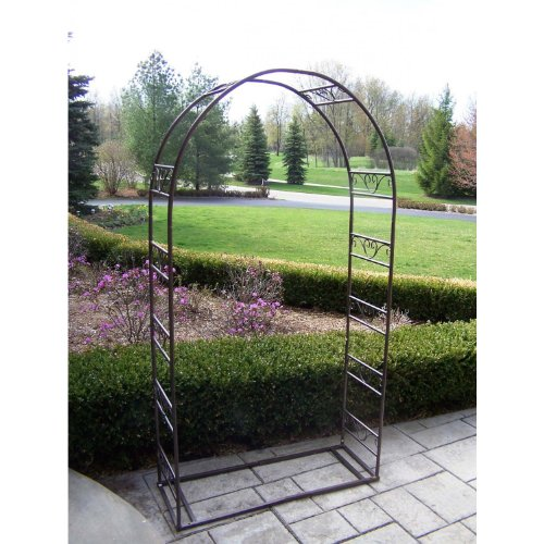 Oakland Living Single Arbor with Base, Hammer Tone - Single Living Arbor