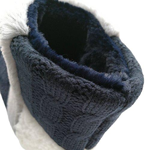 Scarpette Da Donna Caldo Caldo Di Cachemire Inverno Foderato Di Pelliccia Casa Coperta Blu Bootie Blu