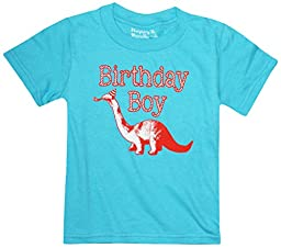 Happy Family Clothing Little Boys\' Dinosaur Birthday Boy T-Shirt (4 T, Aqua Blue)