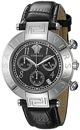 Versace Men's 'REVE CHRONO' Swiss Quartz Stainless Steel and Leather Casual Watch, Color:Black (Model: VQZ010015)