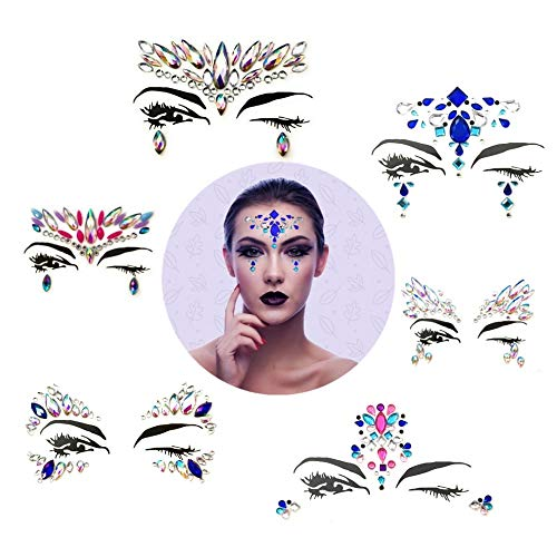 6 Sets Rhinestone Face Jewels - Mermaid Face Gems, Temporary Festival Rave Face Body Stickers, Glitter, Bindi Gems - By Instantaneous Ink