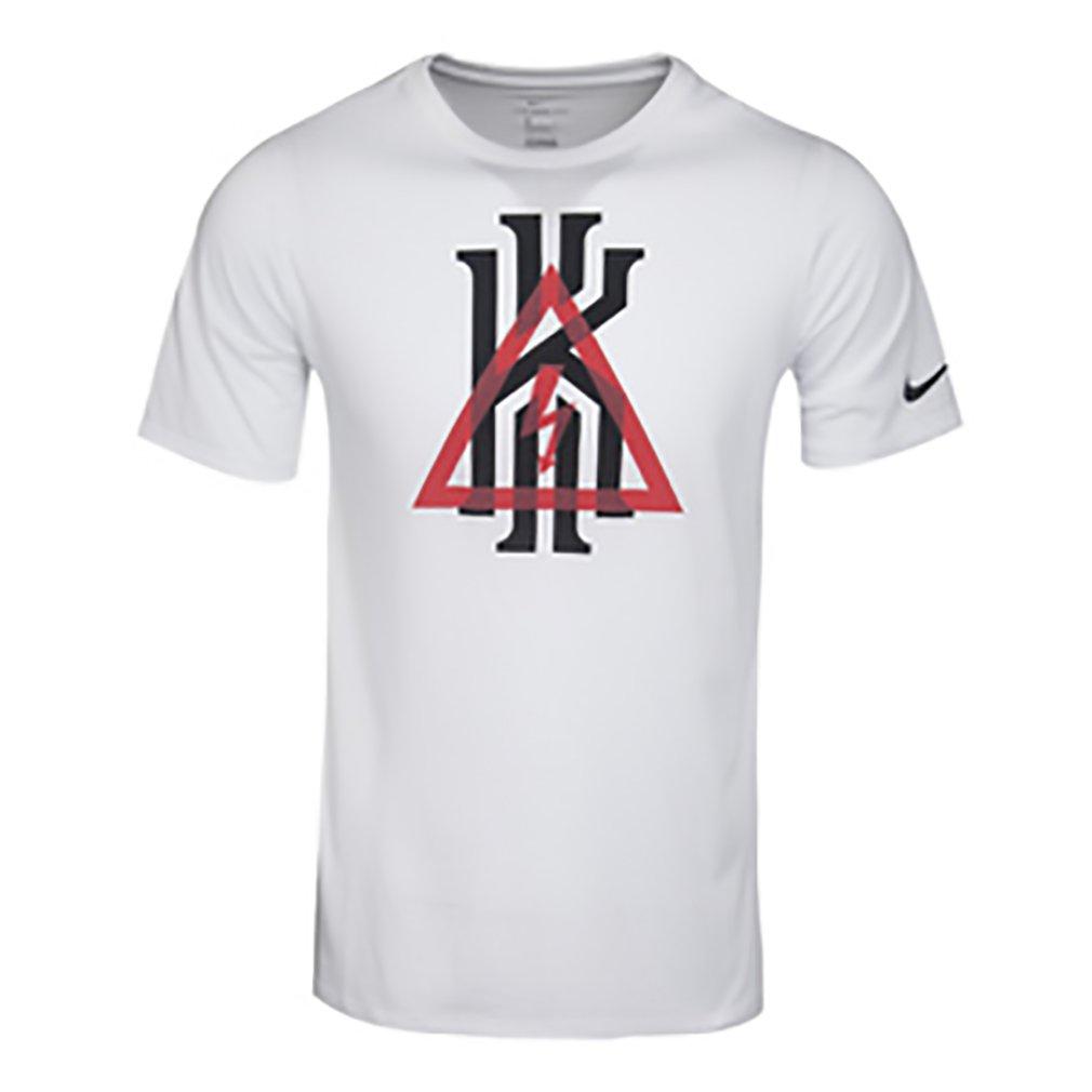NIKE Boys Kyrie Basketball T-Shirts (Large, White/Black)