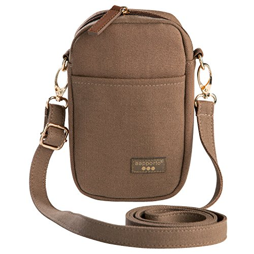 Aapporto Cellphone Purse Crossbody Brown Shoulder Bag - For iPhone 8 Plus XS Max XR Galaxy S8 S9+ Note 8 9 - Strap Adjusts - Soft Case Pouch - Waist Belt Attachment - Zippered Wallet Compartment