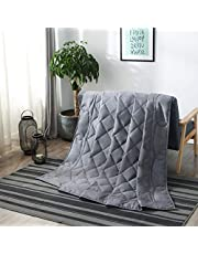 Weighted Blanket for Adult and Kids, Heavy Bed Blanket with 100% Cotton and Glass Beads