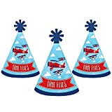 Taking Flight - Airplane - Mini Cone Vintage Plane Baby Shower or Birthday Party Hats - Small Little Party Hats - Set of 10
