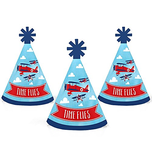 Taking Flight - Airplane - Mini Cone Vintage Plane Baby Shower or Birthday Party Hats - Small Little Party Hats - Set of 10 by Big Dot of Happiness