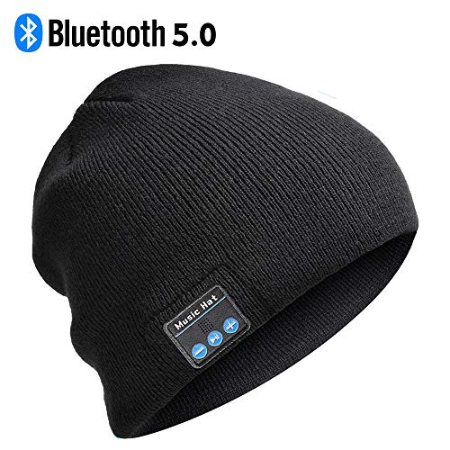 Bluetooth Beanie, Mens Gifts Bluetooth hat with Double Knitted Built-in Stereo Speaker & Mic Unique Birthday Gifts for Men Women Running Cap Fit for Outdoor Sports