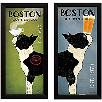 Boston Terrier Coffee and Brewing Co Ryan Fowler Framed 2 Picture Set Vintage Beer Ads Dogs 11x23 Finished Size