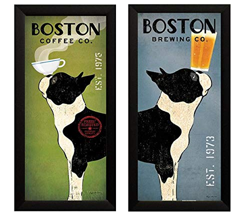Boston Terrier Coffee and Brewing Co Ryan Fowler Framed 2 Picture Set Vintage Beer Ads Dogs 11x23 Finished -