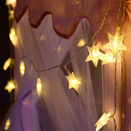 Homeleo 50 LED Warm White LED Twinkle Star Fairy Lights w/Remote Control, Battery Powered Five-Pointed Star String Lights by Homeleo (Image #7)