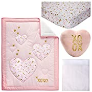 Little Love by NoJo She's So Lovely Heart 4 Piece Crib Bedding Set, Pink/Metallic Gold