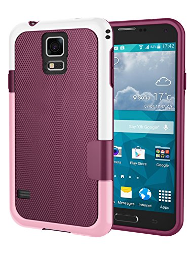 Galaxy S5 Case, Jeylly [3 Color] Slim Hybrid Impact Rugged Soft TPU & Hard PC Bumper Shockproof Protective Anti-Slip Case Cover Shell for Samsung Galaxy S5 I9600 GS5 G900A - Wine