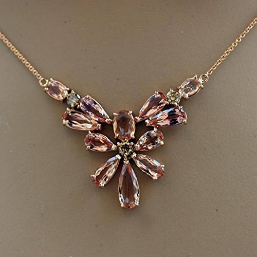 14K Pink Imperial Topaz Necklace & Earring Set with Champagne Diamonds by Ladygemologist Los Angeles