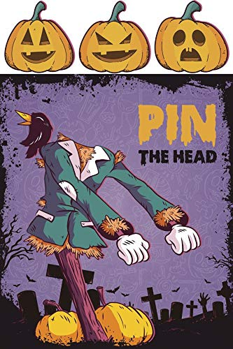 Pin the Head Halloween Game Pumpkin Head on Scare Crow Monster Prop Cutouts Photo Booth Props Halloween Signs Scary Monsters Size 24x36 Handmade DIY Party Supply Photo]()