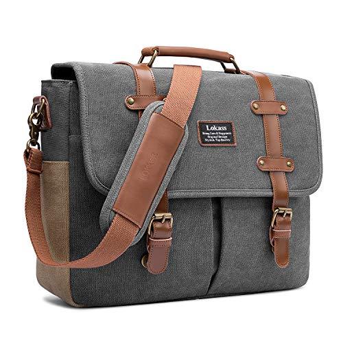 (Mens Messenger Bag, 15.6 Inch Laptop Shoulder Bag Canvas Business Briefcase Large Vintage Satchel College Bookbag Retro Brown Leather Handbag Crossbody Bag for Men, Gray)