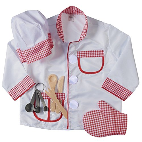 Chef Role Play Costume Set, Halloween Costume (3-6 Years) White