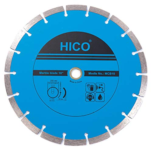HICO 10-Inch Marble and Granite Diamond Blade Segmented Turbo Teeth Dry or Wet Cutting Continuous Rim Diamond Saw Blade, Fits 5/8-Inch or 7/8-Inch Arbor