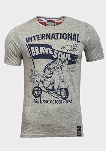 Brave Soul Herren T-Shirt Grau Grau