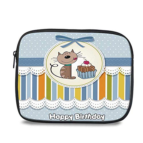 Birthday Decorations for Kids Durable iPad Bag,Present Wrap Like Image Chocolate Cake Cat Party for iPad,10.6